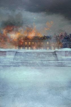 Drunaa Mansion in winter burning at night Houses
