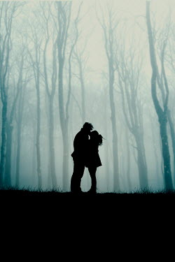 Rekha Garton SILHOUETTED MAN AND WOMAN KISSING BY FOGGY FOREST Couples