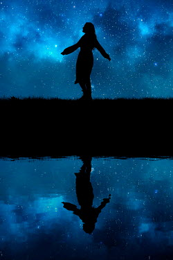 Rekha Garton SILHOUETTED WOMAN REFLECTED IN RIVER WITH STARRY SKY Women