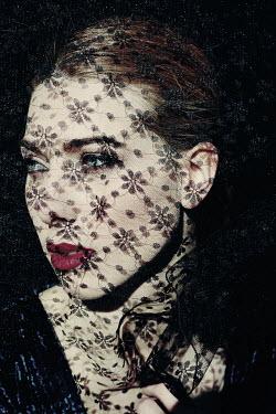 Giovan Battista D'Achille SAD WOMAN COVERED WITH BLACK LACE Women