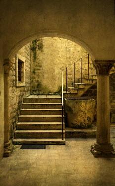 Jaroslaw Blaminsky STONE STEPS IN COURTYARD WITH ARCHWAY Stairs/Steps