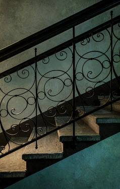 Jaroslaw Blaminsky CLOSE UP OF DECORATIVE WROUGHT IRON STAIRCASE Stairs/Steps