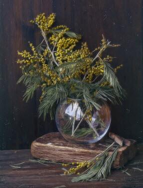 Andreeva Svoboda YELLOW BERRIES IN GLASS VASE ON WOODEN TABLE Flowers