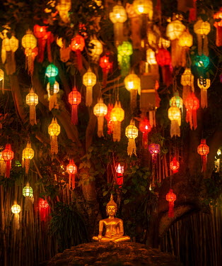 Ashraful Arefin SHRINE WITH GOLDEN BUDDHA AND LANTERNS AT NIGHT Religious Buildings
