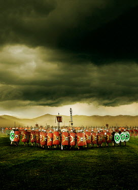 Stephen Mulcahey ROMAN ARMY WITH SHIELDS MARCHING IN COUNTRYSIDE Groups/Crowds
