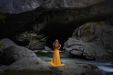 Viktoria Haack WOMAN WITH RED HAIR BY RIVER AND CAVE Women