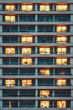 Evelina Kremsdorf LIGHTS GLOWING IN WINDOWS OF APARTMENT BLOCK Miscellaneous Buildings