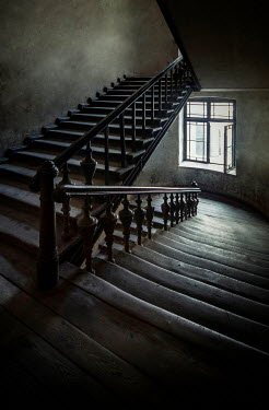 Jaroslaw Blaminsky OLD EMPTY STAIRCASE WITH WINDOW IN SHADOW Stairs/Steps