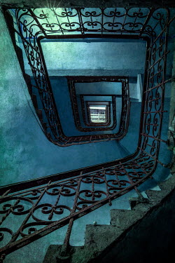 Jaroslaw Blaminsky OLD WROUGHT IRON STAIRCASE FROM BELOW Stairs/Steps