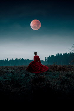 Rekha Garton WOMAN IN RED DRESS WATCHING MOON IN COUNTRYSIDE Women