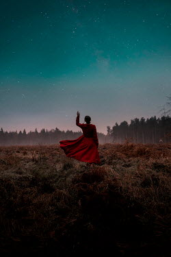 Rekha Garton WOMAN IN RED DRESS WATCHING STARRY SKY IN COUNTRYSIDE Women