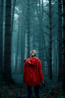 Rekha Garton WOMAN IN RED JACKET WITH GUN IN FOREST Women