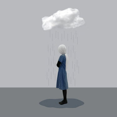 Patty Maher WOMAN STANDING UNDER RAINING CLOUD Women
