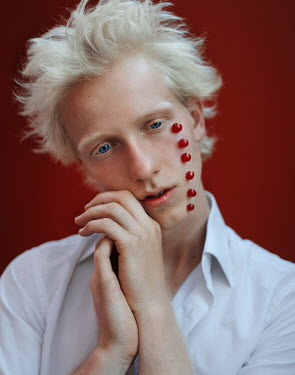 Svitozar Bilorusov BLONDE MAN WITH RED BERRIES ON FACE Men