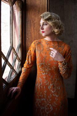 Elisabeth Ansley RETRO BLONDE WOMAN IN DRESS WATCHING BY WINDOW Women