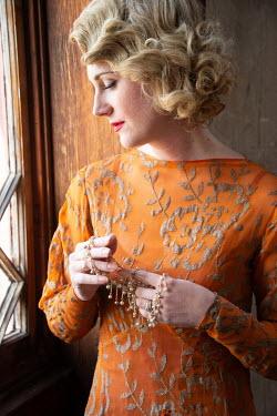 Elisabeth Ansley RETRO BLONDE WOMAN DAYDREAMING BY WINDOW Women