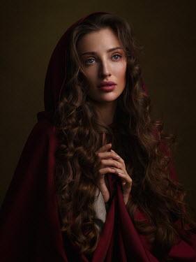 Alexey Kazantsev Portrait of young woman in red cloak