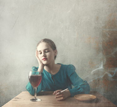 Anna Buczek Young woman with cigarette and glass of red wine
