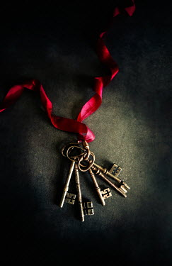 Jane Morley COLLECTION OF KEYS WITH RED RIBBON Miscellaneous Objects