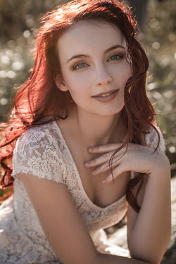 Michael Nelson SMILING GIRL WITH RED HAIR IN LACE DRESS Women