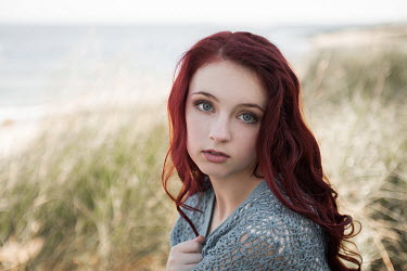 Michael Nelson SAD GIRL WITH RED HAIR SITTING ON BEACH Women