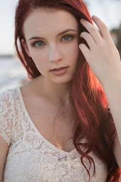 Michael Nelson GIRL WITH LONG RED HAIR ON BEACH Women