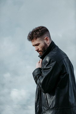 Magdalena Russocka close up of modern man in leather jacket