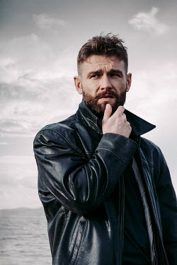 Magdalena Russocka THOUGHTFUL MAN WITH BEARD BY SEA Men
