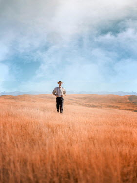 Mary Wethey PIONEER MAN IN HAT STANDING ON PLAINS Men