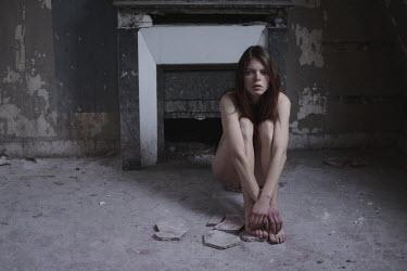 Anna Rakhvalova NAKED WOMAN SITTING IN DERELICT HOUSE Women
