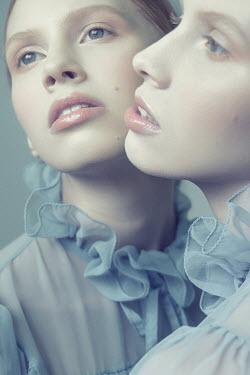 Dorota Gorecka WOMAN IN BLUE SILK DRESS REFLECTED IN MIRROR Women