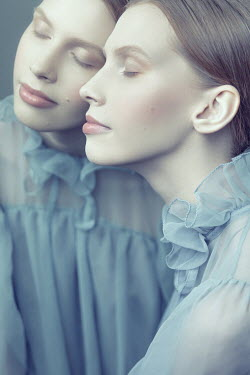 Dorota Gorecka WOMAN IN BLUE SILK DRESS REFLECTED IN MIRROR Women