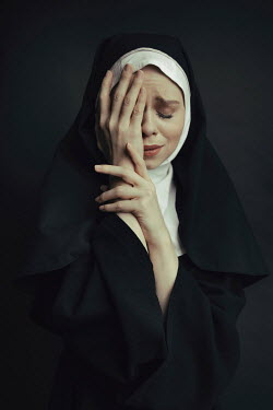 Dorota Gorecka NUN CRYING WITH HANDS COVERING FACE Women