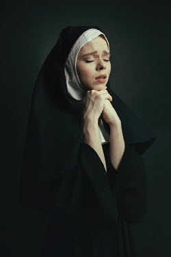 Dorota Gorecka SAD NUN IN HABIT PRAYING Women