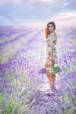 Evelina Kremsdorf GIRL IN FLORAL DRESS PICKING LAVENDER IN FIELD Women