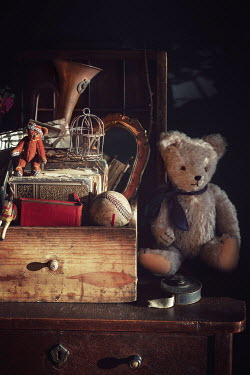 Magdalena Wasiczek BOX OF OLD TOYS WITH TEDDY BEAR Miscellaneous Objects