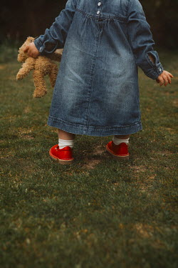 Shelley Richmond LITTLE GIRL HOLDING TEDDY IN GARDEN Children
