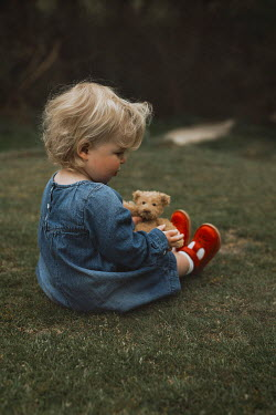 Shelley Richmond LITTLE GIRL HOLDING TEDDY IN GARDEN Children