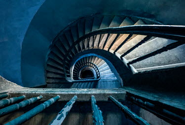 Jaroslaw Blaminsky SHABBY STAIRCASE IN OLD BUILDING FROM ABOVE Stairs/Steps