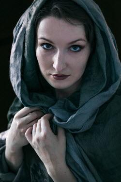 Jaroslaw Blaminsky SERIOUS WOMAN WITH BLUE HEAD SCARF Women