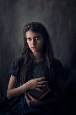 Jessica Drossin GIRL WITH LONG DARK HAIR HOLDING BOOK Children