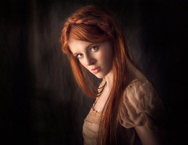 Jessica Drossin TEENAGE GIRL WITH BRAIDED RED HAIR IN PINK DRESS Women