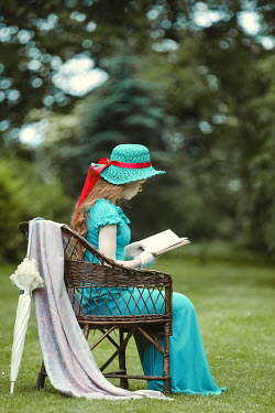 Magdalena Russocka historical woman reading in garden