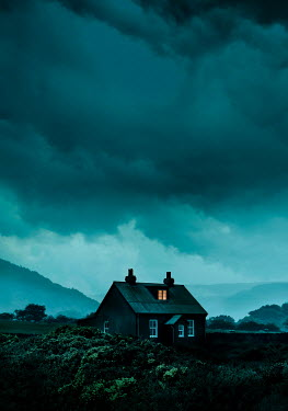 Stephen Mulcahey LIGHT IN ATTIC OF HOUSE IN COUNTRY AT DUSK Houses
