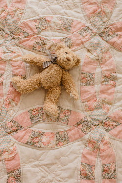 Shelley Richmond TEDDY BEAR LYING ON PINK QUILT Miscellaneous Objects