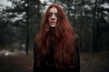 Ulyana Naydenkova GIRL WITH RED HAIR STANDING IN FOREST Women