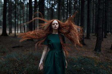 Ulyana Naydenkova GIRL WITH FLOWING RED HAIR IN FOREST Women