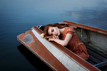 Ulyana Naydenkova GIRL WITH RED HAIR LYING IN BOAT Women