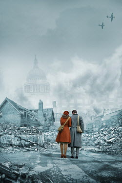 CollaborationJS 1940s couple standing in rubble of city