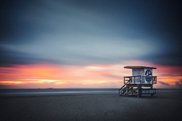 Evelina Kremsdorf Lifeguard hut on Miami Beach at sunset